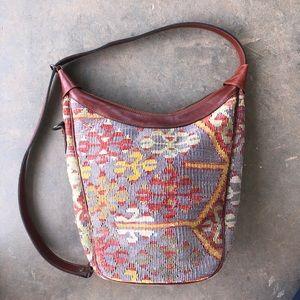 YUN ART Wool Kilim & Leather Carpet Bag Purse